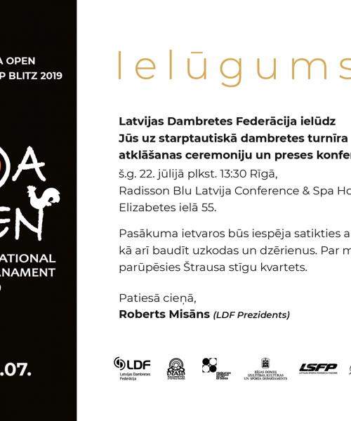 🖨️Ielūgums uz Starptautisko dambretes turnīru Riga Open 2019