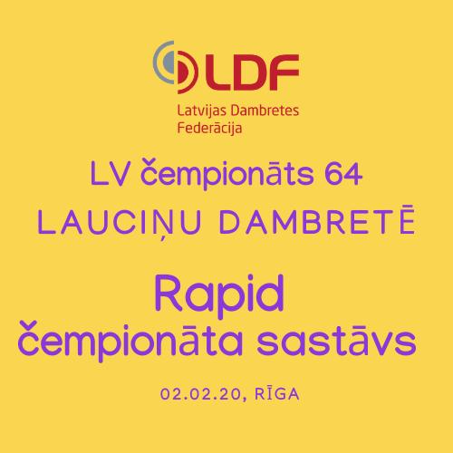 LV čempionāta RAPID sastāvs 02.02.20 (atjaunots 14:28)